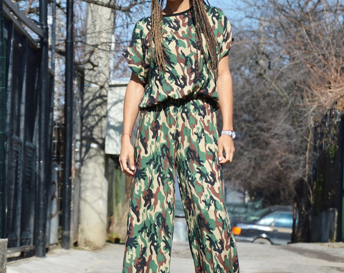 Military Wide Leg Jumpsuit, Women Jumpsuit, Rompers for Girls, Plus Size Overall, Maxi Jumpsuit, Extravagant Sleeves Jumpsuit by SSDfashion