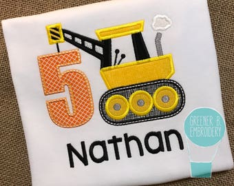 Construction Birthday Shirt / Crane Applique Shirt / Construction Birthday Outfit / Boy Birthday Shirt / Construction Applique Shirt