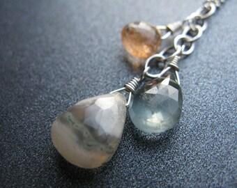 Solar Quartz Necklace, Moss Aquamarine Necklace, Sunstone, Gemstone Cascade Necklace, Sterling Silver, Sundance Style, OOAK - Organic Trio