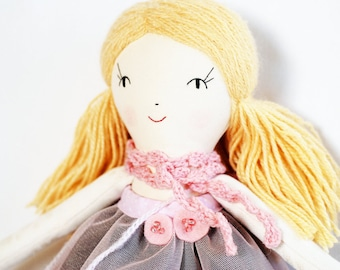 Unique doll, ooak doll, handmade doll, cloth rag doll, art doll, blonde hair doll, heirloom doll, fabric dolls, collectible doll