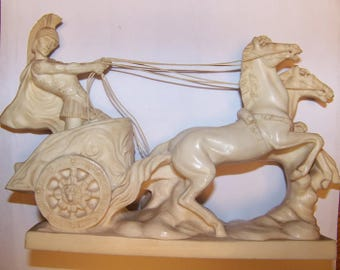 A Santini Italian Sculpture Roman Soldier on Chariot Two Horses Alabaster Resin, A Santini sculptures, Italian sculptures, collectibles