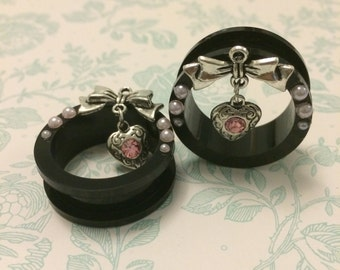 Diamante Heart Ear Tunnels