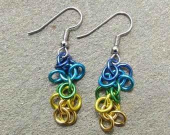 Chain Maille Earrings, Multicolor Earrings, Shaggy Loops Earrings, Multicolor Jewelry, Jump Ring Earrings