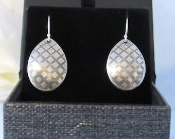 Unique Etched Geometric Earrings, Handcrafted from Sterling Silver