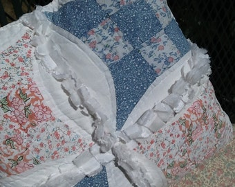Quilted Rag Pillows/Accent Pillows/Decorative Pillows