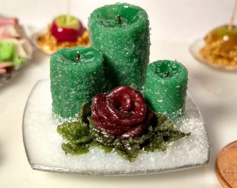 Miniature Three Candle/Rose Arrangement 1:12 Scale Miniature Flowers Miniature Candles