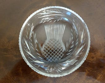 Scottish Thistle cut glass pin dish