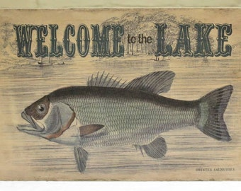 """Wood """"Welcome to the Lake"""" Welcome Sign - Shabby Chic Cabin Decor - Great Father's Day Gift for Dad!"""