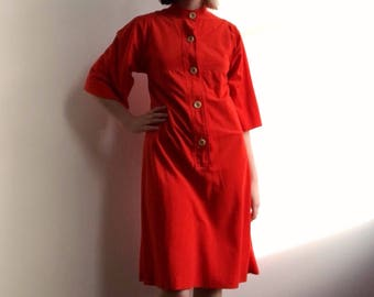 60's tomato red housedress