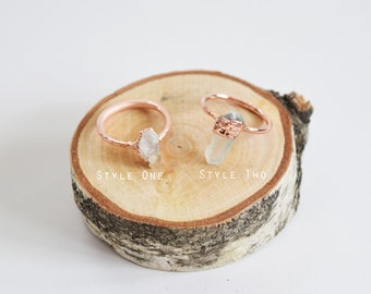 Clear Quartz Point Copper Electroplated Ring