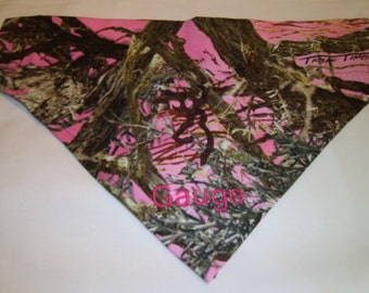 Dog Bandana, Camo, Pink,  Personalized, Monogram, True Timber, Over the Collar, Hunting,  Scarf, dog gift, dog lover gift, embroidery dog