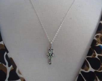 "Vintage Sterling Silver Peridot Gemstone Pendant on 18"" Sterling Silver Chain, August Birthstone"