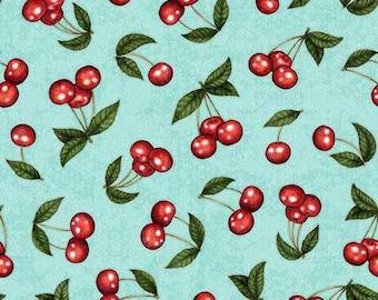 Quilting Treasures Home Sweet Home Dark Aqua Cherries fabric - 1 yard