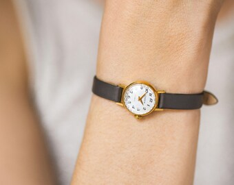 Very small wristwatch for women gold plated, micro watch for lady, petite lady watch, classic tiny watch Seagull, premium leather strap new
