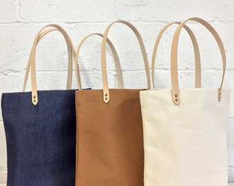 Apron + Tote Bag PACK Denim / Camel / Natural - Cotton and Leather - Handmade in Canada