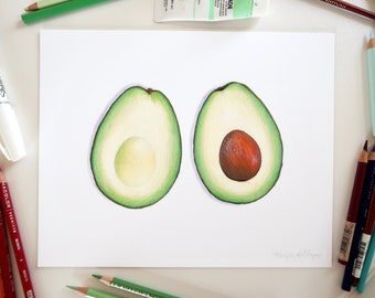 Avocado Illustration // Food Art Print
