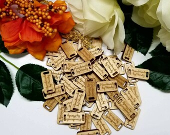 Wood Product tags. Custom product tags. Wood tags. Engraved product labels. 1x.5 inch Wood Product Tags for crochet hats, gloves, bag labels