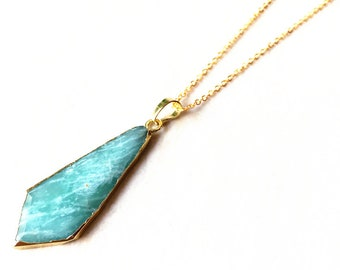 Natural Amazonite Arrowhead Pendant // Gold Amazonite Crystal Necklace // Amazonite Arrow head Pendant with Electroplated Gold Bail (SD81_1)