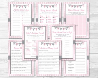 Pink Chevron Baby Shower Games Package / 8 Printable Games / Baby Girl Shower / Baby Shower Games / INSTANT DOWNLOAD A201