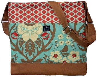 Deer Valley Forest Trees Birds Flowers Red Brown Blue Fabric Large Purse Hobo Toddler Tote Diaper Messenger Bag Cross Body Zipper Closure