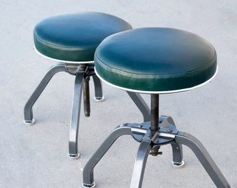 Pair of Rare 1940s Buty-Crafters Salon Stools Refinished with Leather Seats