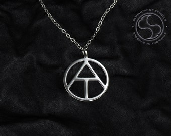 Atheist pendant etsy atheism symbol pendant stainless steel jewelry atheist necklace keychain logo emblem amulet talisman charm sign sigil aloadofball Gallery