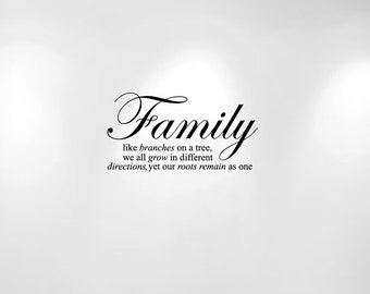 "Family Tree Wall Decal Quote Like Branches on a Tree (20"" wide x 10 1/2"") 1134"