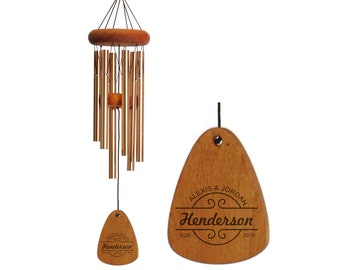 Anniversary Wind Chime, Engraved Windchime, 5 Year Anniversary, Gift for Her, Anniversary Gift, 5th Anniversary, Gift for him, Couple Gift