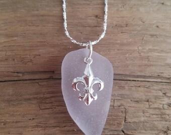Lavender Sea Glass Fleur De Lis Necklace