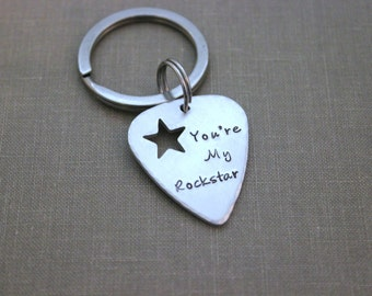 You're My Rockstar keychain - silver aluminum guitar pick - hand stamped - gift for him - gift for husband, boyfriend - music lover - Star