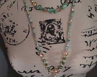 Beaded Gemstone Necklace & Bracelet Set Agate Slice Pendant Glass Crystal Beads Multistrand Womens Handmade Jewelry