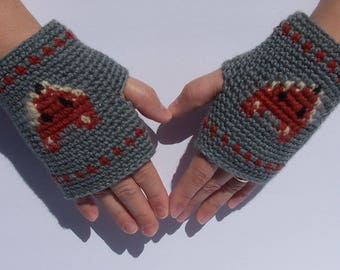 Fox fingerless gloves mitts wristers wristlets