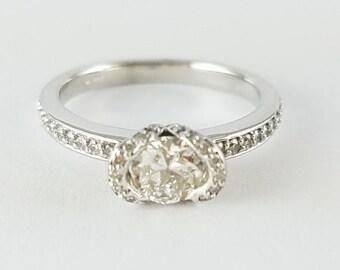 14k White Gold Diamond east west  engagement  ring - east west ring - diamond halo engagement - European Round engagement ring