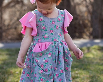 The Penelope Pockets Knit Dress PDF Sewing Pattern Size 12 month - 12 year Girls Toddler Tween