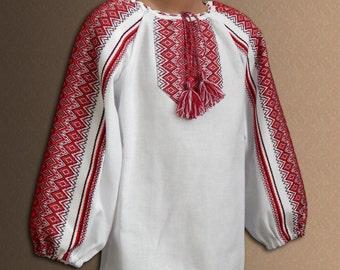 Ukrainian embroidered blouse for Girls Vyshyvanka Ukrainian folk blouse Cotton Ethnic blouse Baby girl Red Blue