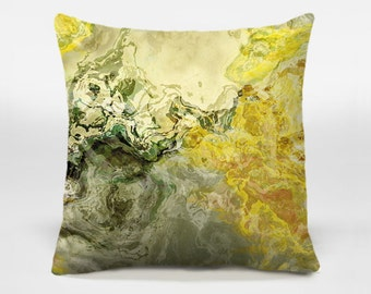 Toss pillow cover with abstract art, 16x16 and 18x18, yellow and sage decorative pillow, throw pillow, accent pillow, Fluid Mechanics