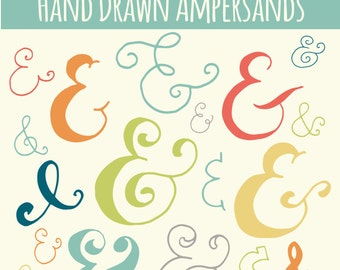 CLIP ART: Colored Ampersand Sign // Photoshop Brush Set // Hand Drawn Calligraphy // And Symbol // Vector // Rainbow  // Commercial Use