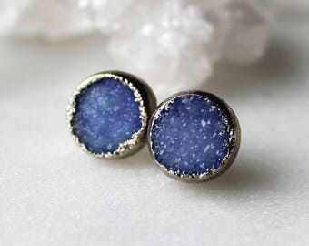 HUGE SALE  druzy studs, blue druzy, silver druzy studs, gold studs, electroformed, post earrings, gifts for her