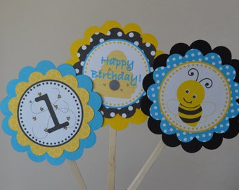 Bumble Bee Birthday Cupcake Toppers - Bee Party, Blue, Yellow, Black - Set of 12