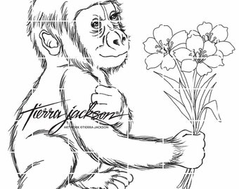 Baby Gorilla with spring flowers - instant download digital stamps by Tierra Jackson