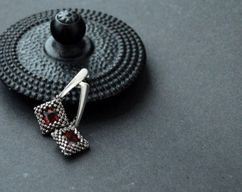 Beaded Zirconia Earrings - Red