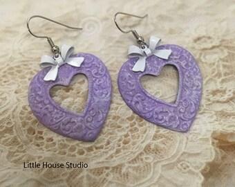 Heart Earrings, Purple Heart Earrings, Shabby Chic, Vintage, Dangle & Drop, Purple Dangle, Purple Heart, Earrings, Heart Jewelry