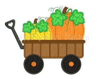 Wagon full of Pumpkins Applique Machine Embroidery Design Fall Harvest Thanksgiving AutumnINSTANT DOWNLOAD