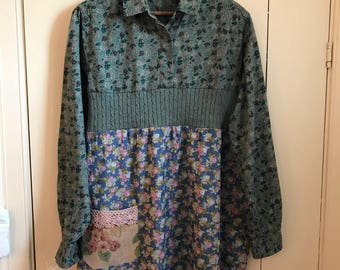 Upcycled, Restyled Cotton Print Shirt M- L Tunic Top