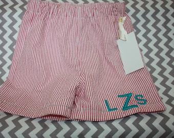 Boys seersucker swim suit  Monogram  Match sibling Swimsuit