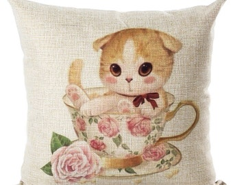 Small Kitty Cat Pillow Cushion Beige Throw Pillow Cover Kids Room Decor Nursery  Ask a question