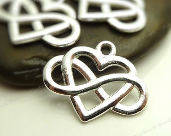 6 Infinity and Heart Charms ( Double Sided ) 20x26mm Antique Silver Tone Metal - BM1