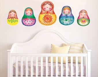 Nesting doll, Matryoshka Doll, Babushka, Kids wall decal, girl gift, baby shower gift, Russian nesting doll, Peel and stick, nursery decal