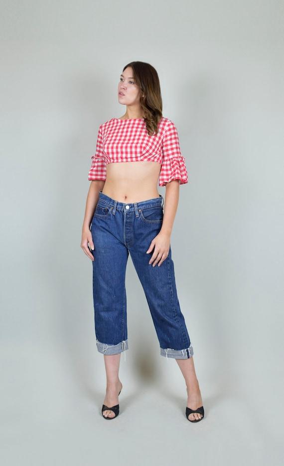 Capris 60s Jeans 1960's cropped Levis Selvedge 32 Blue Denim Cropped Levi's waist Redline 501 raw Vintage 501s edge hem Levi's Denim Redline fxHfwqU1