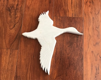 White Wooden Flying Bird Wall Hanging